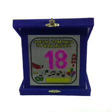 18 ANNI targa humor glitter personalizzabile blu 14x14 cm per party e feste