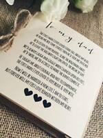 Vintage/Rustic 'To My Dad' wedding Day Poem Card - show dad he is special!