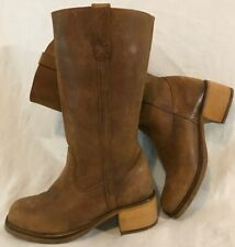 Ladies Brown Mid Calf Leather Lovely Boots Size 37 (116vv)