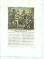 17TH OLD PRINT ANTIQUE ORIGINAL COLOR GRAVURE JEANNE NAVARRE BAR PRISONER 1787