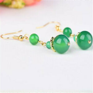National green agate yellow fashion golden Earrings New Year Halloween Gift