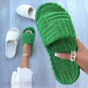 Women Winter Slippers Non-slip Thick Soled Embossed Towel Indoor Faux Fur Shoes