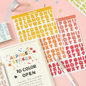 2 Sheets Number Letter Flat Adhesive Stickers Diy Journal Diary Collage Sticker