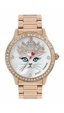 💋Betsey Johnson KITTY Princess Watch With Jewel Tiara Crown - ROSE GOLD