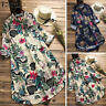 Vintage Femme Chemise Bouton Floral Printed Manches longues Tops Shirt Robe Plus