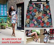 WAREHOUSE 100% LEATHER FLORAL PRINT MINI PARTY BLOGGERS SKIRT UK 8 BNWT RRP £75