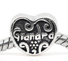 Grandma Heart Grandmother Gift Spacer Charm fits European Bead Slide Bracelets