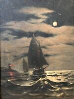 🔥 Antique 19th c. Tonalist Impressionist Oil Painting - Seascape, Lighthouse