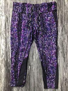 NIKE Epic Lux Running Knee Length Crops Purple Black Sidewinder XL Extra Large