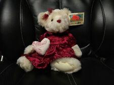 Animal Alley Toys R Us ivory cream Teddy Bear in burgundy dress heart 2000 W/TAG