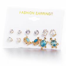 6Pair Turtle Sea Crab Enamel Starfish Zircon Stud Earrings Set For Women Jewelry