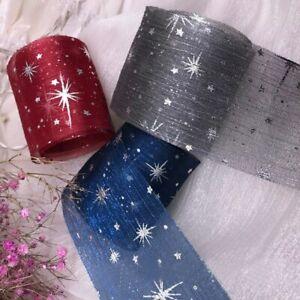 5 Yards Gauze Organza Ribbon for Diy Craft Glitter Star Printed Wrinkle Net