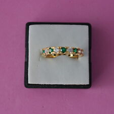 Beautiful 10 KT Yellow Gold Filled Ring With Green And White CZ Size N12 In Box