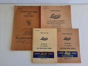 Vintage Instruction Books & Parts Lists for Lister Diesel Engines Generating Set