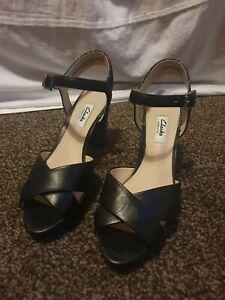 Clarks Kendra Petal Leather Sandals Contrasting Heel Ankle Strap UK 5.5 D Mint