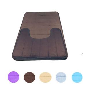 2 Piece Bathroom Mat Set Non-Slip Memory Foam+U-shaped Toilet Contour Rug