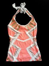 NWT bebe white peach coral gold stud sequin colorblock dress top XS 0 2 sexy