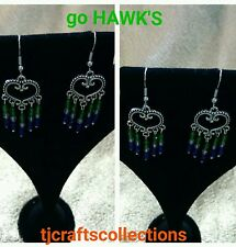 Seahawk color inspired chandelier earrings