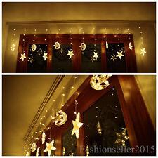 168LED Moon&Star Window Party Wedding Christmas String Fairy led Curtain Lights
