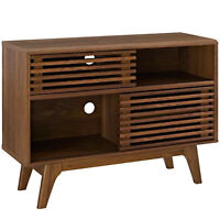 Mid Century Modern Slotted Display Stand Console Wall Media Walnut Storage