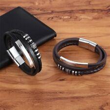 Men's Genuine Leather Stainless Steel Braided Bracelet Wristband Black Brown