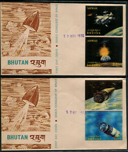 Bhutan 1970 Conquest of Space set Of 12  3D Stamps On 6 Complete Set Of FDC