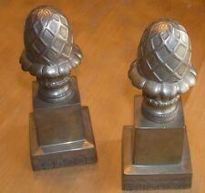 Pair Vintage Bombay Company Brass Acorn Design Paperweights Door Stops Bookends