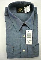 Vintage Saddle King Western Men Long Tail Blue Short Sleeve Pearl Snap Shirt 16R