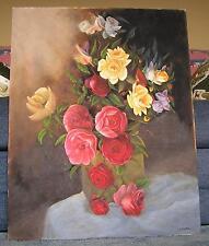 STILL LIFE GARDEN FLOWERS CABBAGE ROSES YELLOW WHITE VASE OIL OOAK ART PAINTING