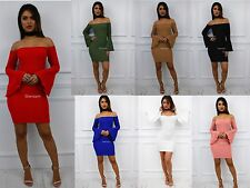 Womens Ladies Glam off Shoulder Bardot Short Sleeve Mini Bodycon Dress UK 14 Red