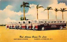 MIAMI, FL, RED ADAMS BUS COMPANY LINEN ADV PC, VEHICLES & DRIVERS c. 1940-50's