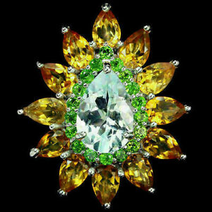 Ring Yellow Citrine Blue Topaz Green Chrome Diopside Sterling Silver O US 7.25