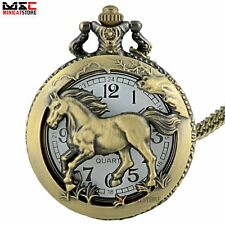 Antique Bronze Horse Pendant Pocket Watch Quartz Necklace Chain Retro Gift New