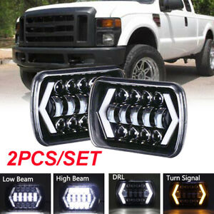 2pcs 5X7 7X6 45W LED Headlight Halo DRL Hi/Lo For Ford F250 F350 E150 E250 E350