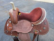 15 16 COWBOY BARREL RACING PLEASURE FLORAL TOOLED LEATHER WESTERN HORSE SADDLE