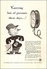 1943 WW 2 era AD Bell Telephone ART Old Phone Cartoon Man ,War pressures! 073117
