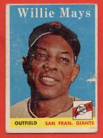 1958 Topps #5 Willie Mays GOOD+ WRINKLE PAPER LOSS San Francisco Giants FREE S/H