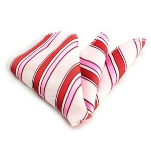 Celino Stripe Pink White Pocket Square for Men Silk Handkerchiefs for Suits
