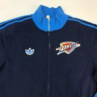 Adidas OKC Zip Up Jacket Mens Size XL Long Sleeve Navy Blue Trim Kangaroo Pocket