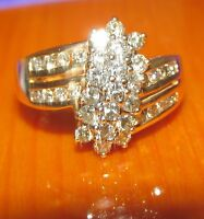 BEAUTIFUL SECONDHAND  14ct YELLOW GOLD  DIAMOND CLUSTER RING SIZE M