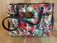 Nicole Miller Handbag Purse Floral Red Green with Black Accents