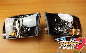2015-2019 RAM 1500 2500 3500 Set Of Black Bezel Halogen Headlights MOPAR OEM