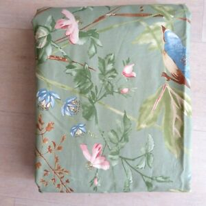 Pottery Barn SYLVIE Duvet Cover Green Floral Organic Cotton KING Discontinued