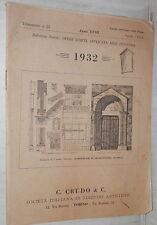 BOLLETTINO NOVITA OPERE D ARTE APPLICATA ALLE INDUSTRIE Aprile 1932 Crudo Storia