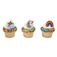 Unicorn Rainbow Star cupcake rings (24) party favor cake toppers