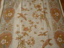 Rare Antique Art Nouveau Floral Bird Cotton Fabric Panel ~ Softened Ochre Rose