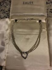 Beautiful Zales Silver Heart Multi-chain Necklace