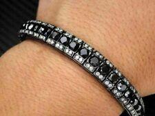 Fancy 10Ct Black & White Round Diamond Mens Tennis Bracelet 14K White Gold Over