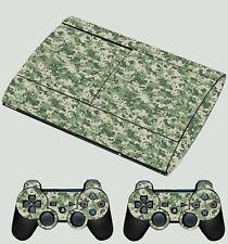 PLAYSTATION PS3 SUPER SLIM Green Pixel Camo Camouflage SKIN STICKER & 2 PAD SKIN