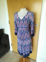 Ladies PER UNA Dress Size 14 Blue Pink Stretch Smart Casual Day Party Summer
